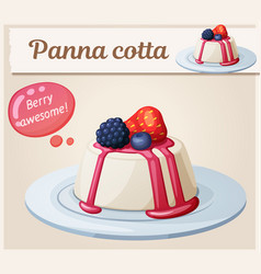 panna cotta dessert with berries icon cartoon vector image