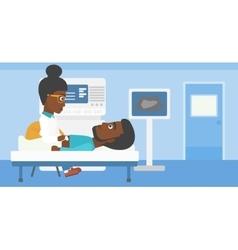 Patient during ultrasound examination vector