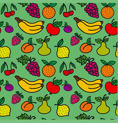 Pattern of fruits and berries vector