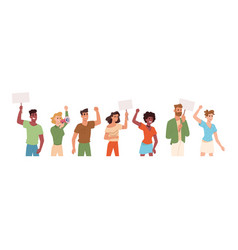 people with protest banners angry protesters vector image