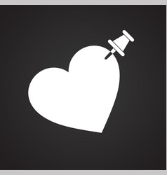 Pinned heart icon on black background for graphic vector