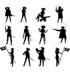 pirate girl silhouettes vector image