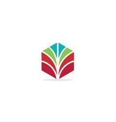polygon shape colorful company logo vector image