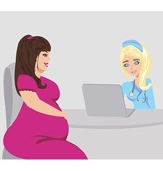 pregnant woman with doctor vector image