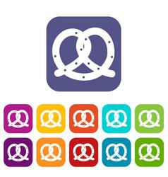 pretzel icons set vector image