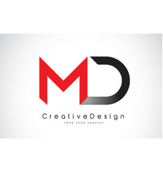 Red and black md m d letter logo design creative vector