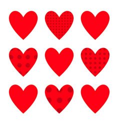 red heart icon set happy valentines day sign vector image