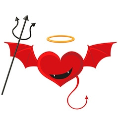 Red heart with devil wings vector