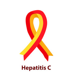 Red yellow ribbon hepatitis c world hepatitis day vector