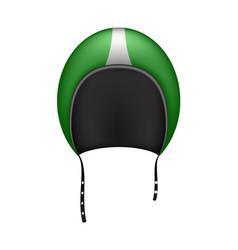 Retro motorcycle helmet in dark green design vector