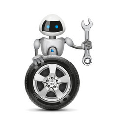Robot with a car wheel and a spanner vector