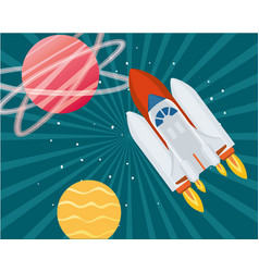 Rocket in space with planets solar vector
