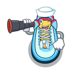sailor with binocular cartoon sneaker with rubber vector image