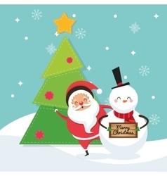 Santa and snowman cartoon of Christmas design vector