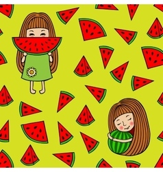 Seamless pattern of watermelons and little girls vector