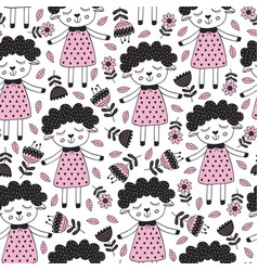 seamless pattern with sheep girl and flower vector image