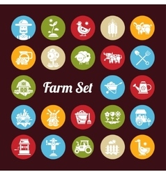 set farm agriculture flat design icons vector image