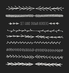 set hand drawn line border vector image