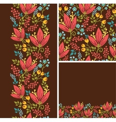 Set of autumn flowers seamless pattern and borders vector
