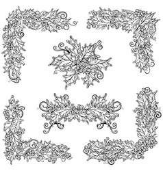 Set of black and white holly berries design vector