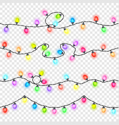 set of seamless festive glowing garlands vector image