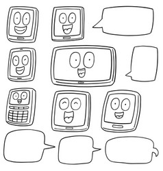 set of smartphone and tablet cartoon vector image