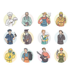 set round icon men different professions vector image