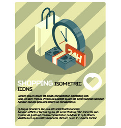 shopping color isometric poster vector image