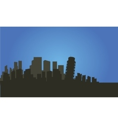 Silhouette of city and pisa tower vector image