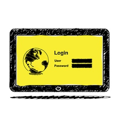 Sketch drawing Tablet computer with login screen vector