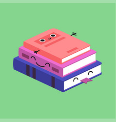 smiling cute stack of colored books habituate kid vector image