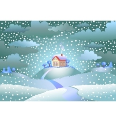 Snowfall over the small house vector image