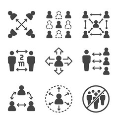 social distancing icon set vector image