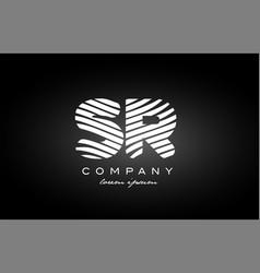Sr s r letter alphabet logo black white icon vector
