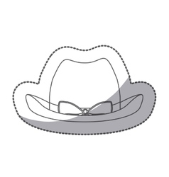Sticker silhouette lace cowboy hat with bow retro vector
