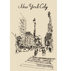 Street New York city engraved vector image