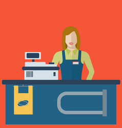 supermarket store cashier woman or sales clerk at vector image
