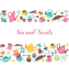 tea time horisontal poster vector image