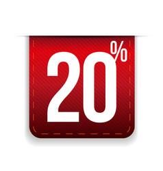 Twenty percent off ribbon red vector