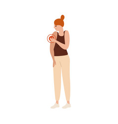 Unhappy woman having arm pain flat vector
