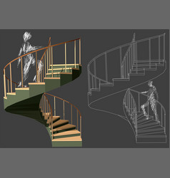 Walking up stairs vector