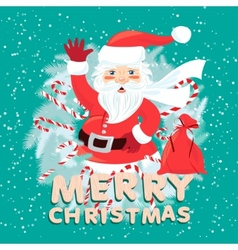 waving santa claus iside christmas wreath vector image