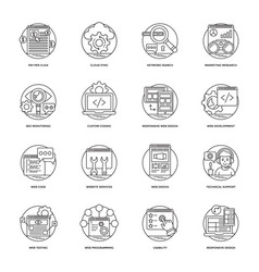 Web development line icons 3 vector