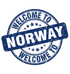 Welcome to norway blue round vintage stamp vector