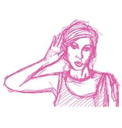 Woman overhearing vector
