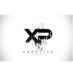 Xp x p grunge brush letter logo design in black vector