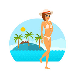 Young woman in bikini concept vector