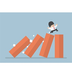 Business running on toppling domino vector image