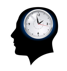 creative ideas clock in head on white vector image vector image