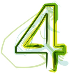 Green number 4 vector image vector image